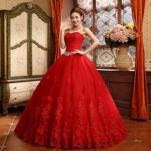 مدل لباس عروس زیبا به رنگ قرمز