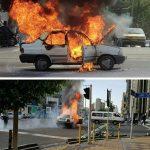 راننده معترض به جریمه در تهران خودرویش را به آتش کشید