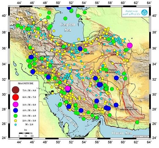 به ثبت رسیدن ۱۱۵۰ زلزله فقط در اردیبهشت