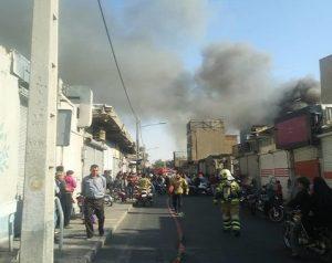 آتش گرفتن یک سوله در میدان هرندی تهران